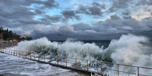 Волны обрушились на набережную в Симеизе