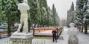 Аллея аполлонов зимой